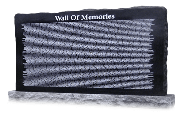 Wall of Memories granite landscape memorial